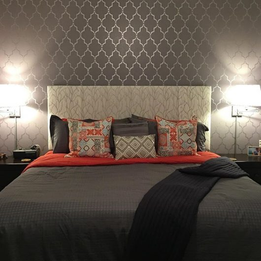 A DIY stenciled bedroom accent wall using the Marrakech Trellis Stencil from Cutting Edge Stencils. http://www.cuttingedgestencils.com/moroccan-stencil-marrakech.html