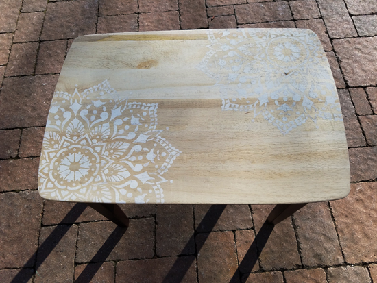 Learn how to stencil and stain wooden nesting tables using the Passion Mandala Stencil from Cutting Edge Stencils. http://www.cuttingedgestencils.com/passion-mandala-stencil-yoga-decal-wall-stencils-mandalas.html