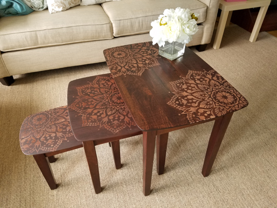 passion-mandala-stencil-Learn how to stencil and stain wooden nesting tables using the Passion Mandala Stencil from Cutting Edge Stencils. http://www.cuttingedgestencils.com/passion-mandala-stencil-yoga-decal-wall-stencils-mandalas.html