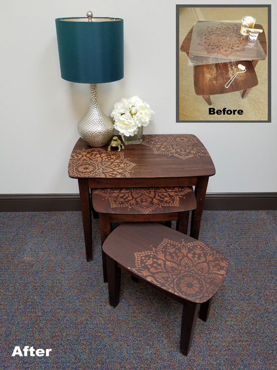A before and after for stenciled and stained wooden nesting tables using the Passion Mandala Stencil from Cutting Edge Stencils. http://www.cuttingedgestencils.com/passion-mandala-stencil-yoga-decal-wall-stencils-mandalas.html