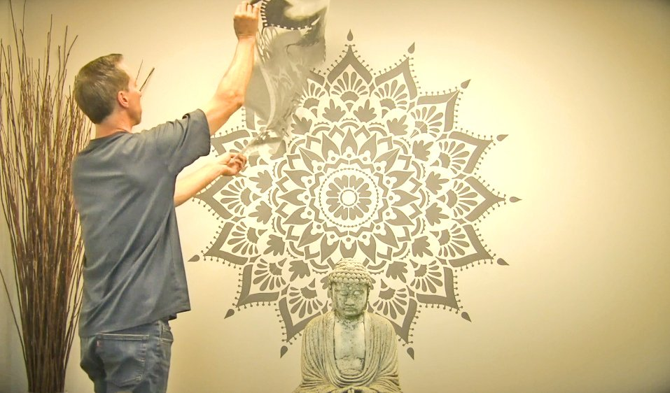 Learn how to stencil an accent wall using a large 74 inch Radiance Mandala Stencil from Cutting Edge Stencils. http://www.cuttingedgestencils.com/radiance-mandala-stencil-yoga-mandala-stencils-decal.html