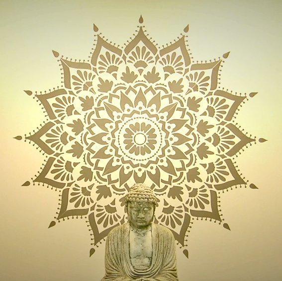 Learn how to stencil an accent wall using a large 70 inch Radiance Mandala Stencil from Cutting Edge Stencils. http://www.cuttingedgestencils.com/radiance-mandala-stencil-yoga-mandala-stencils-decal.html