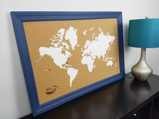 A DIY stenciled cork board using the World Map Wall Art Stencil from Cutting Edge Stencils. http://www.cuttingedgestencils.com/world-map-stencil-wall-decal-worlds-maps-stencils.html