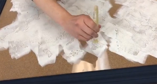 Learn how to stencil a cork board with the World Map Wall Art Stencil from Cutting Edge Stencils. http://www.cuttingedgestencils.com/world-map-stencil-wall-decal-worlds-maps-stencils.html