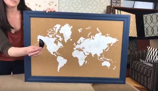 How to stencil a cork board using the world map pattern stencil learn how to stencil a cork board with the world map wall art stencil from cutting gumiabroncs Image collections