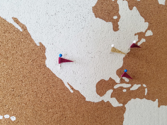 Make custom push pins for DIY stenciled cork board using the World Map Wall Art Stencil from Cutting Edge Stencils. http://www.cuttingedgestencils.com/world-map-stencil-wall-decal-worlds-maps-stencils.html