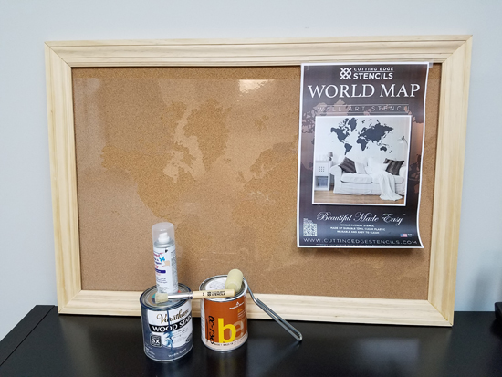 How to stencil a cork board using the world map pattern stencil the materials needed to stencil a cork board with the world map wall art stencil from gumiabroncs Images