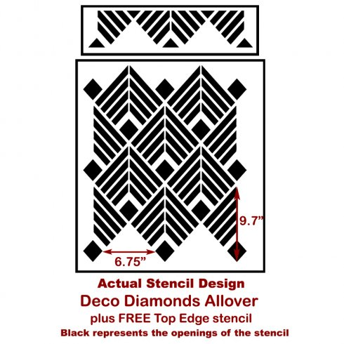 The Deco Diamonds Allover Stencil from Cutting Edge Stencils. http://www.cuttingedgestencils.com/Art-deco-stencil-pattern-wallpaper-wall-stencils.html