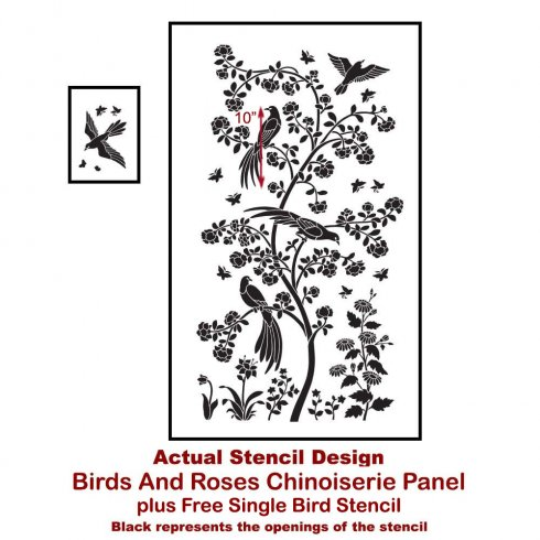 The Birds and Roses Chinoiserie Wall Mural Stencil from Cutting Edge Stencils achieves a wallpaper look. http://www.cuttingedgestencils.com/chinoiserie-stencil-mural-wall-design-wallpaper.html
