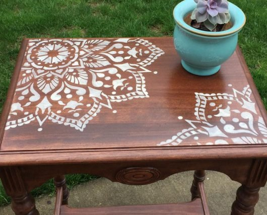 A DIY furniture makeover project. The stenciled side table uses the Passion Mandala Stencil from Cutting Edge Stencils. http://www.cuttingedgestencils.com/passion-mandala-stencil-yoga-decal-wall-stencils-mandalas.html