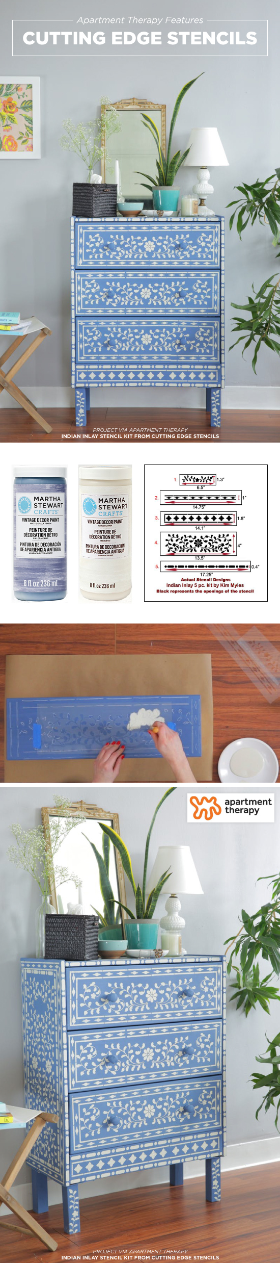 Apartment Therapy shares how to stencil $35 Ikea Rast dresser using the Indian Inlay Stencil Kit designed by Kim Myles from Cutting Edge Stencils.  http://www.cuttingedgestencils.com/indian-inlay-stencil-furniture.html