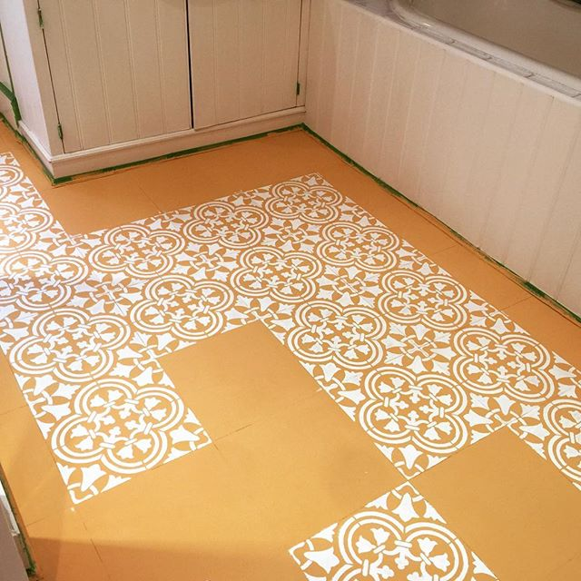 Learn how to stencil vinyl tile floor in a bathroom using the Augusta Tile Stencil from Cutting Edge Stencils. http://www.cuttingedgestencils.com/augusta-tile-stencil-design-patchwork-tiles-stencils.html