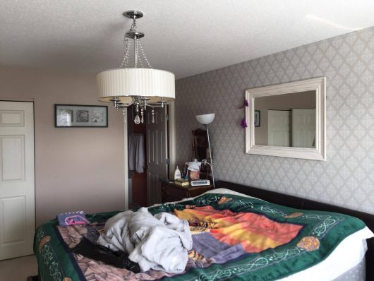 A bedroom before its stenciled makeover. http://www.cuttingedgestencils.com/pearls-stencil-pattern-pearl-wallpaper-stencils-modern-design.html