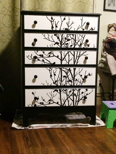 A DIY stenciled table upcycle project using the Birds In Trees Craft Stencil from Cutting Edge Stencils. http://www.cuttingedgestencils.com/birds-in-trees-crafts-stencil-DIY-decor.html