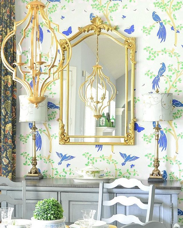 A DIY stenciled breakfast nook by The Dedicated House that used the Chinoiserie Birds and Roses Mural Stencil from Cutting Edge Stencils. http://www.cuttingedgestencils.com/chinoiserie-wall-stencil-mural-panel-asian-design.html