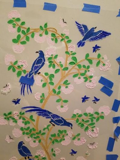 Learn how to stencil the Birds and Roses Chinoiserie Mural Stencil from Cutting Edge Stencils. http://www.cuttingedgestencils.com/chinoiserie-wall-stencil-mural-panel-asian-design.html
