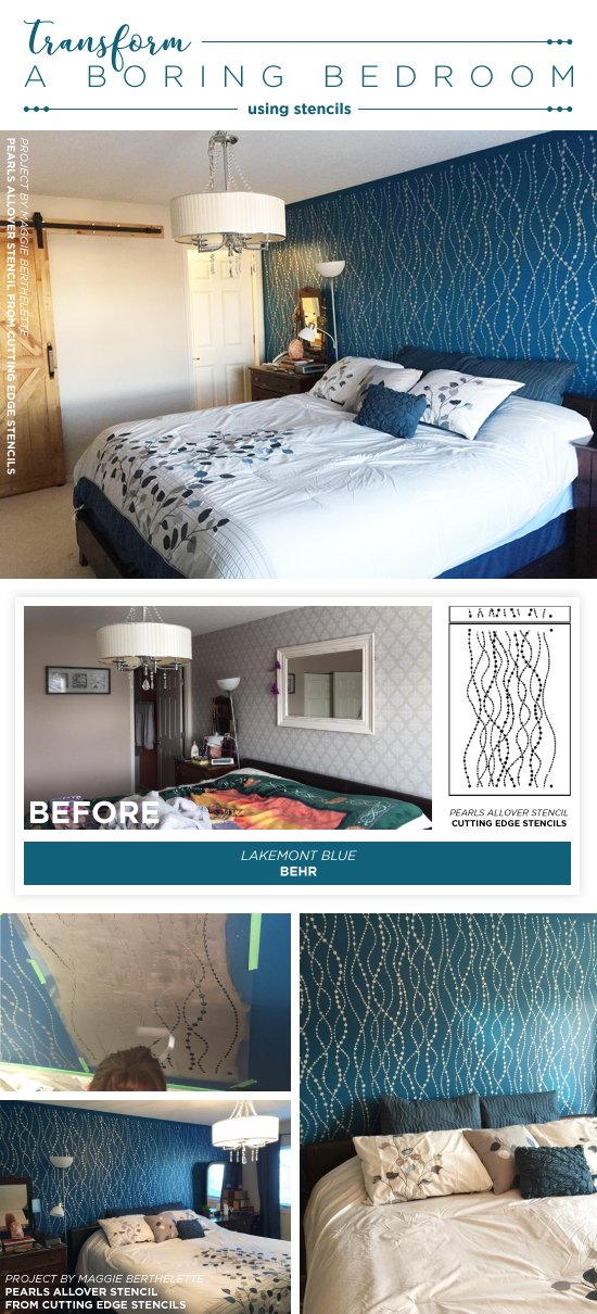 Cutting Edge Stencils shares a bedroom makeover with a DIY stenciled accent wall using the Pearls Allover wall stencil. http://www.cuttingedgestencils.com/pearls-stencil-pattern-pearl-wallpaper-stencils-modern-design.html