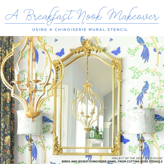 A breakfast nook makeover using a chinoiserie mural for Chinoiserie mural wallpaper