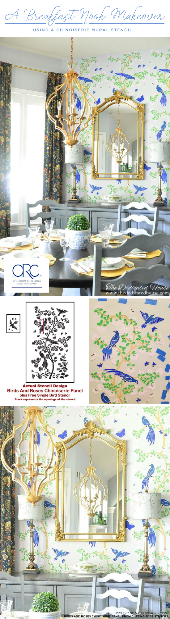 Cutting Edge Stencils shares a DIY stenciled breakfast nook by The Dedicated House that used the Chinoiserie Birds and Roses Mural Stencil. http://www.cuttingedgestencils.com/chinoiserie-wall-stencil-mural-panel-asian-design.html
