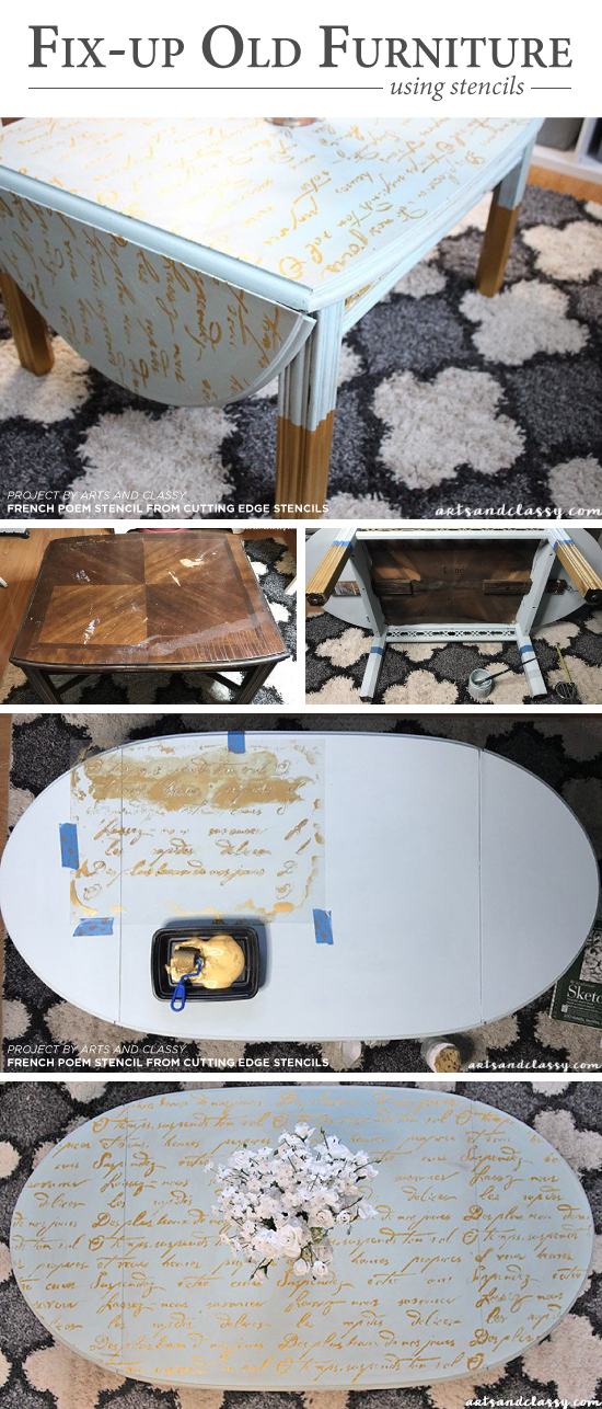 Cutting Edge Stencils shares a DIY stenciled wooden coffee table makeover using the French Poem Craft Stencil. http://www.cuttingedgestencils.com/french-poem-diy-craft-stencil-design.html