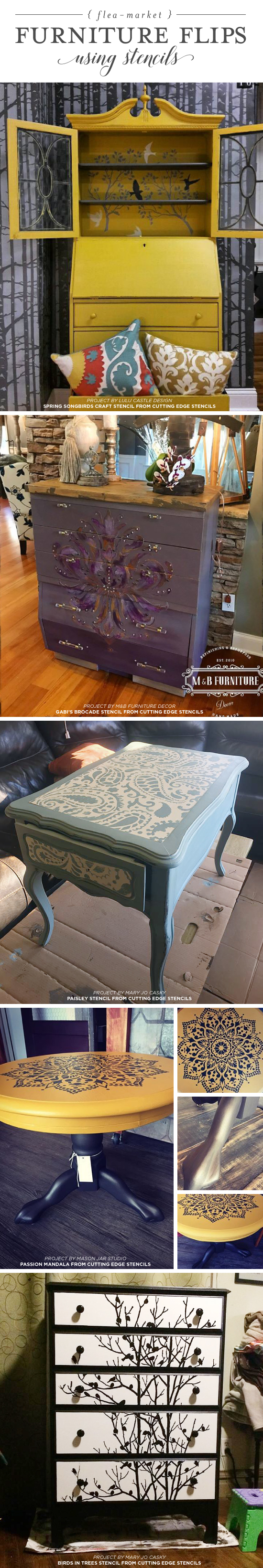 Cutting Edge Stencils shares DIY stenciled furniture ideas using trendy stencil designs. http://www.cuttingedgestencils.com/wall-stencils-stencil-designs.html