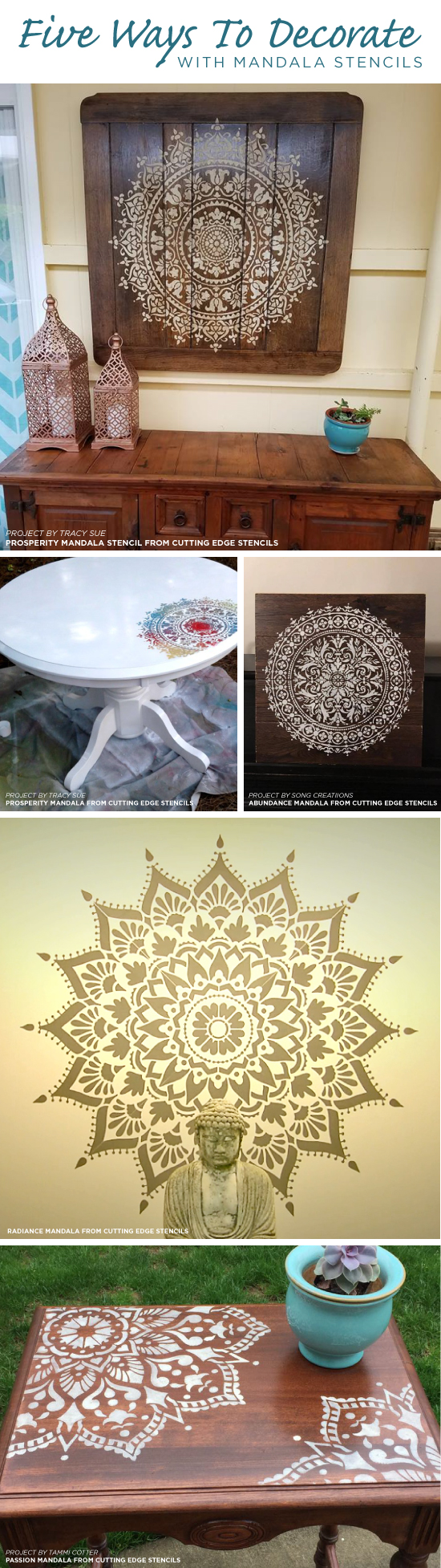 Cutting Edge Stencils shares five DIY decorating projects using Mandala Stencil patterns. http://www.cuttingedgestencils.com/mandala-stencils.html