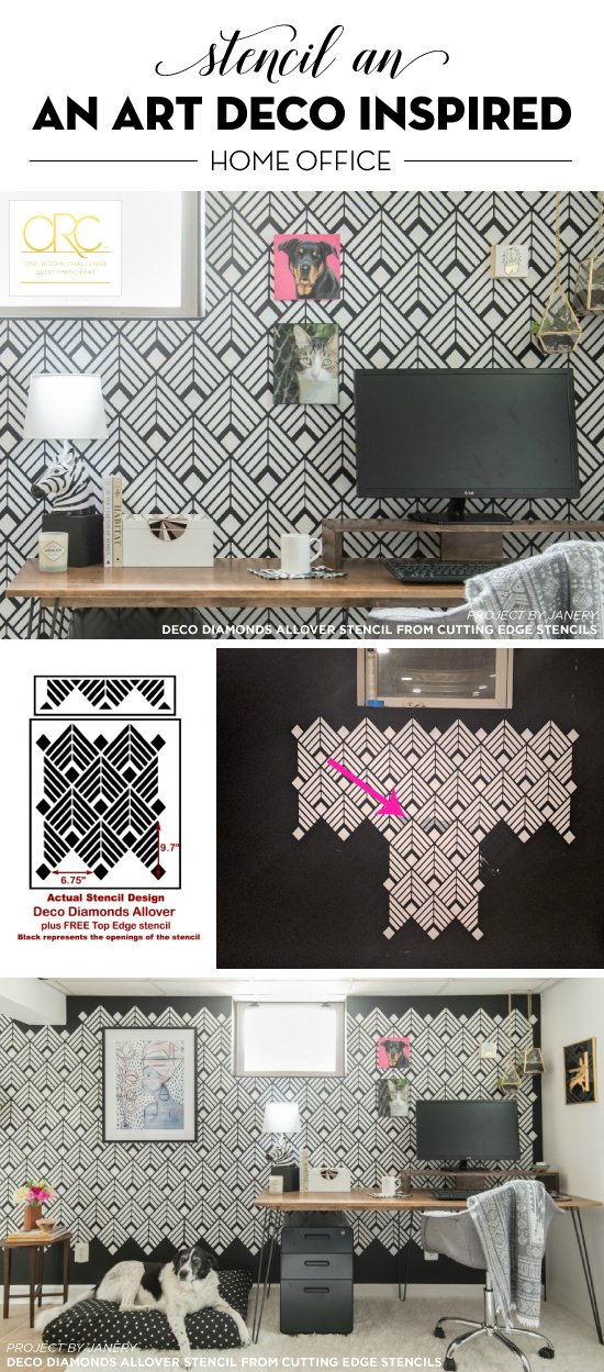 Cutting Edge Stencils shares a DIY art deco inspired home office makeover using the Deco Diamonds Allover Stencil. http://www.cuttingedgestencils.com/Art-deco-stencil-pattern-wallpaper-wall-stencils.html