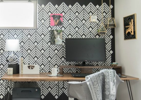 A DIY black and white home office accent wall using the Deco Diamonds Allover Stencil from Cutting Edge Stencils. http://www.cuttingedgestencils.com/Art-deco-stencil-pattern-wallpaper-wall-stencils.html