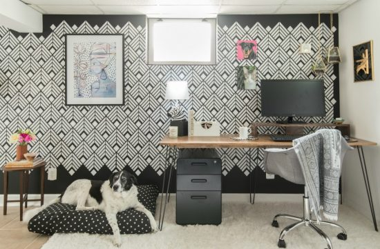 A DIY Black And White Home Office Accent Wall Using The Deco Diamonds  Allover Stencil From