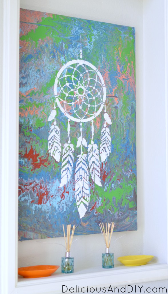 Learn how to stencil a marbled canvas using the Dream Catcher Wall Art Stencil from Cutting Edge Stencils. http://www.cuttingedgestencils.com/dream-catcher-stencil-dreamcatcher-stencils-decal.html