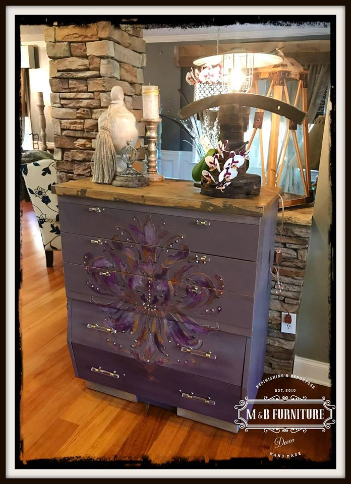 A DIY refinished dresser using the Gabi's Brocade Stencil from Cutting Edge Stencils. http://www.cuttingedgestencils.com/wallpaper-damask-stencil.html