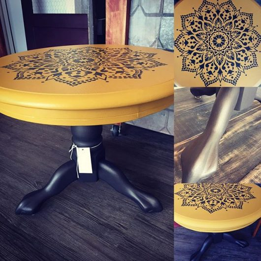 A DIY wooden table upcycle project using the Passion Mandala Stencil from Cutting Edge Stencils. http://www.cuttingedgestencils.com/passion-mandala-stencil-yoga-decal-wall-stencils-mandalas.html