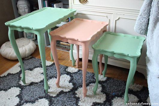 DIY chalk painted nesting tables.