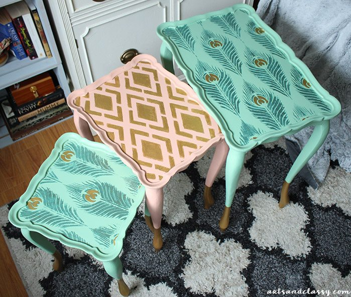 Learn how to stencil a set of nesting table using the Peacock Feather Furniture Stencil from Cutting Edge Stencils. http://www.cuttingedgestencils.com/peacock-feathers-stencil-for-pillow-kit.html