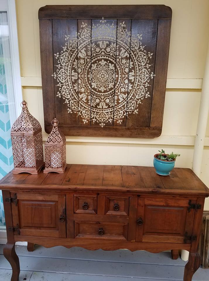 An old bar top table that was upcycled into a piece of wall art using the Prosperity Mandala Stencil from Cutting Edge Stencils. http://www.cuttingedgestencils.com/prosperity-mandala-stencil-yoga-mandala-stencils-designs.html