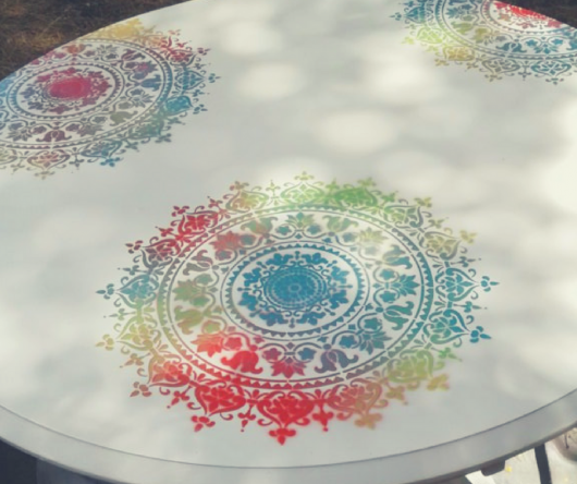 A Bohemian table makeover using the Prosperity Mandala Stencil from Cutting Edge Stencils. http://www.cuttingedgestencils.com/prosperity-mandala-stencil-yoga-mandala-stencils-designs.html