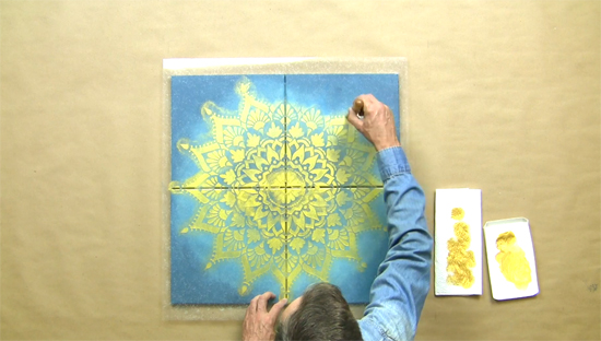Learn how to craft custom canvas wall art using the Radiance Mandala Stencil from Cutting Edge Stencils. http://www.cuttingedgestencils.com/radiance-mandala-stencil-yoga-mandala-stencils-decal.html