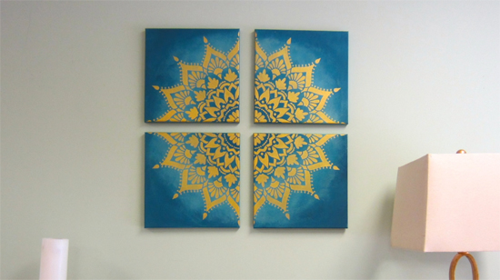 A DIY crafted canvas wall art using the Radiance Mandala Stencil from Cutting Edge Stencils. http://www.cuttingedgestencils.com/radiance-mandala-stencil-yoga-mandala-stencils-decal.html