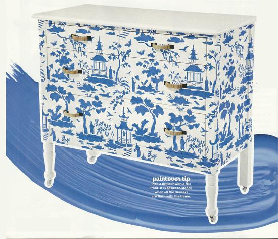 HGTV Magazine features a DIY stenciled dresser using the Secret Garden Toile Stencil from Cutting Edge Stencils. http://www.cuttingedgestencils.com/garden-toile-stencil-chinoiserie-wallpaper.html