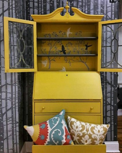 A painted and stenciled secretary desk using the Spring Songbirds Craft Stencil from Cutting Edge Stencils. http://www.cuttingedgestencils.com/spring-songbirds-DIY-craft-project-stencils.html