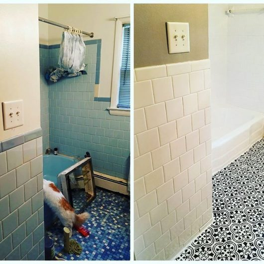Learn How To Stencil A Cement Bathroom Floor Using The Augusta Tile Stencil  From Cutting Edge
