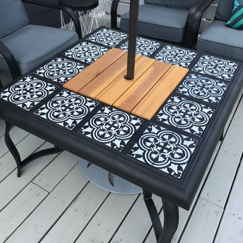 A DIY stenciled outdoor fire pit using the Augusta Tile pattern from Cutting Edge Stencils. http://www.cuttingedgestencils.com/augusta-tile-stencil-design-patchwork-tiles-stencils.html