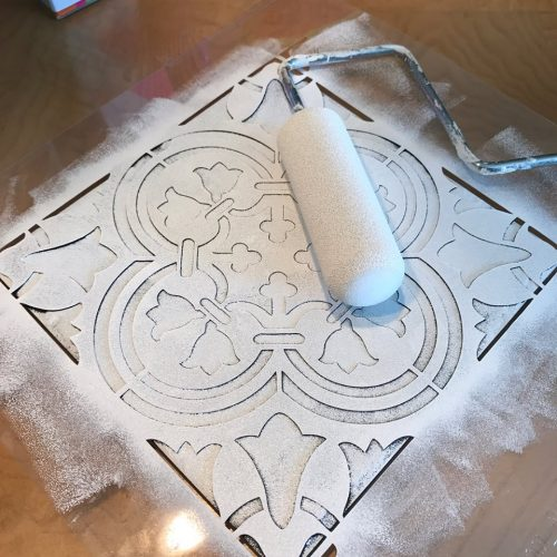 Learn how to stencil the Augusta Tile pattern from Cutting Edge Stencils onto an old outdoor fire pit. http://www.cuttingedgestencils.com/augusta-tile-stencil-design-patchwork-tiles-stencils.html