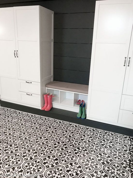 A DIY stenciled concrete basement floor painted with the Augusta Tile Stencil from Cutting Edge Stencils. http://www.cuttingedgestencils.com/augusta-tile-stencil-design-patchwork-tiles-stencils.html