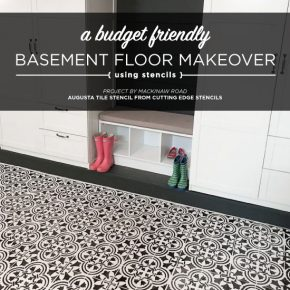 Cutting Edge Stencils shares how to stencil a cement basement floor using the Augusta Tile Stencil. http://www.cuttingedgestencils.com/augusta-tile-stencil-design-patchwork-tiles-stencils.html