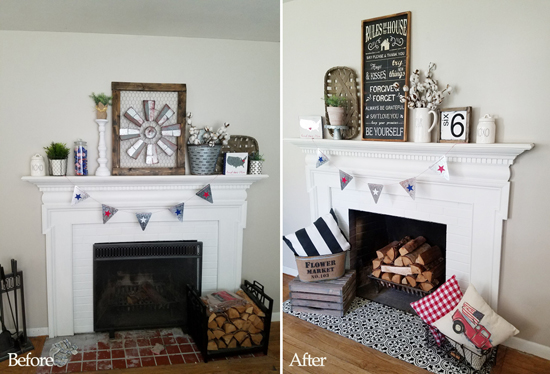 A Farmhouse Fireplace Makeover Using Stencils « Stencil Stories