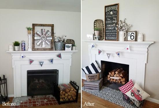 A Farmhouse Fireplace Makeover Using Stencils