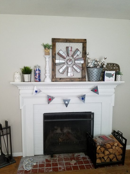 A Farmhouse Fireplace Makeover Using Stencils