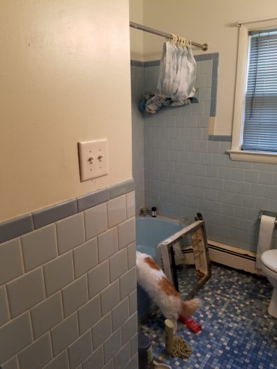 A bathroom before its stenciled makeover. http://www.cuttingedgestencils.com/augusta-tile-stencil-design-patchwork-tiles-stencils.html