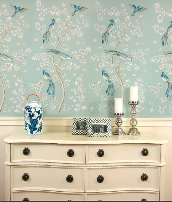 A DIY accent wall with a wallpaper look using the Chinoiserie Birds and Roses Wall Mural Stencil from Cutting Edge Stencils. http://www.cuttingedgestencils.com/chinoiserie-wall-stencil-mural-panel-asian-design.html